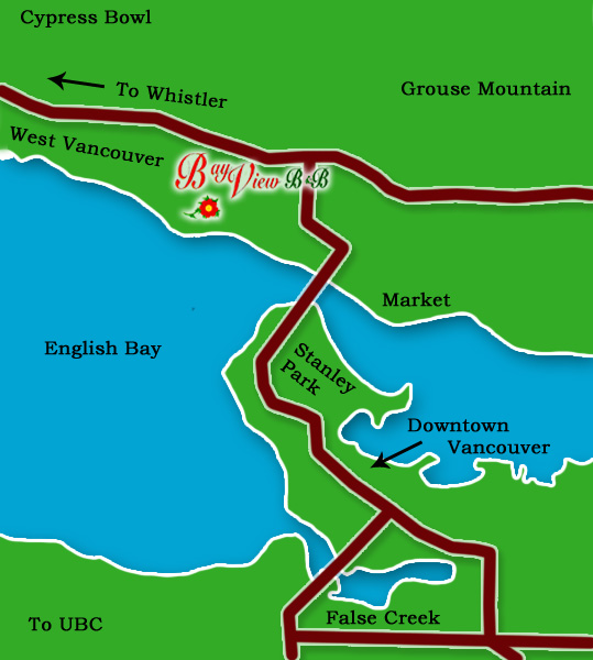 Location Map for West Vancouver Bed and Breakfast